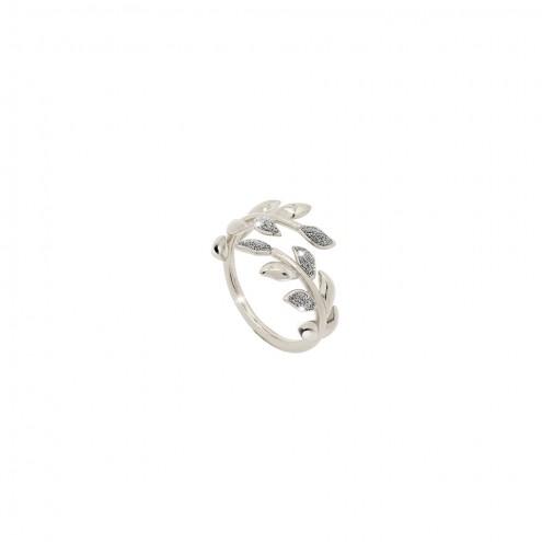 Anello Argento Diamanti Rebecca collezione Jolie Foglie