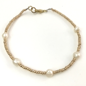Bracciale in Argento bagnato in Oro e Perle