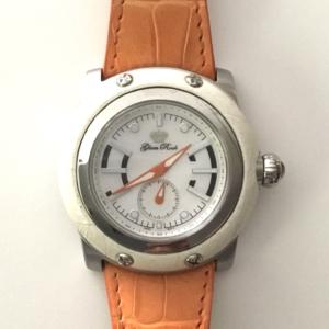 Orologio collezione Miami - Cinturino pelle stampa cocco arancio - ghiera pelle bianca