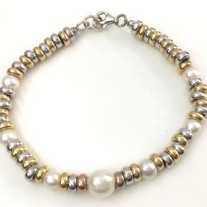 Bracciale rondelle in argento placcato in oro e 7 perle