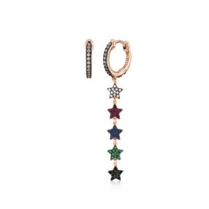 Orecchini cerchietto Kurshuni in argento 925 rosato Mini Star
