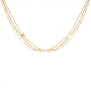 Collana Rebecca in argento placcato in oro e perle